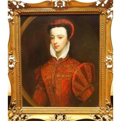 18thc Oil Portrait De Mary Queen Of Scots (1542-1587) Après Federico Zuccaro (1540-1609)