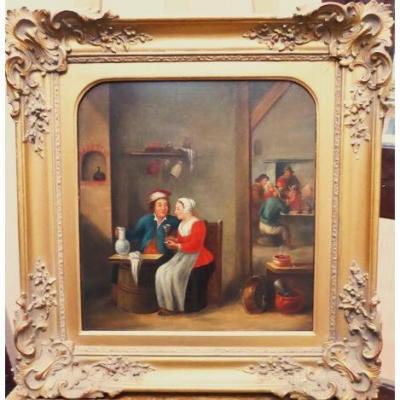 Tavern Intérieur Peinture à l'huile Manière hollandaise Après Teniers Les plus jeunes portraits