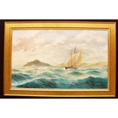 Peinture à l'Huile énorme De Seascape St.michaels Mount By Kenneth E.carter
