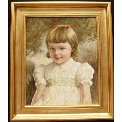 Kathleen Winifred Molesworth Aged 3 Peinture à l'Huile Sur Toile Sur Toile
