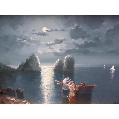 Peinture à l'Huile De Paysage Marin Au Clair De Lune à Bord Par l'Artiste Accompli