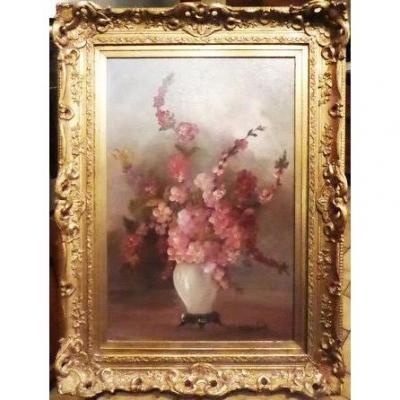 Néerlandais Nature Morte Peinture à l'Huile De Cire Rose Lilas Begonia Fleurs Dans Un Vase