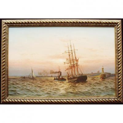 c1909 marin, marine, paysage, aquarelle, goélette, entrer, tememouth, port, remorquage