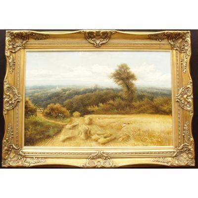 Peinture à l'Huile Paysage 19thc Harvestime Par Charles H.passey (1847-1898)