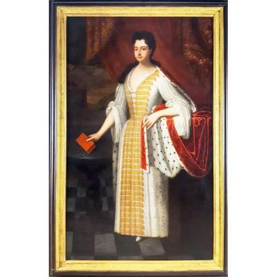 Portrait Royal Peinture De La Princesse Anne De Danemark (1683-1702) Suiveur De Godfrey Kneller
