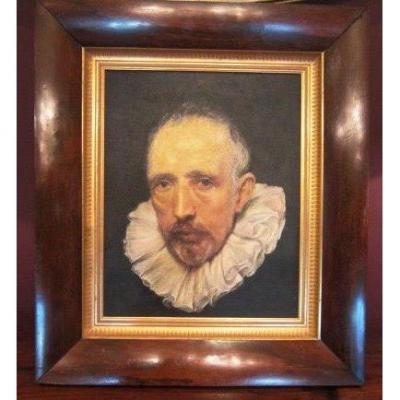 Portrait à l'Huile Hollandaise Sur Lin Après Anthony Van Dyck