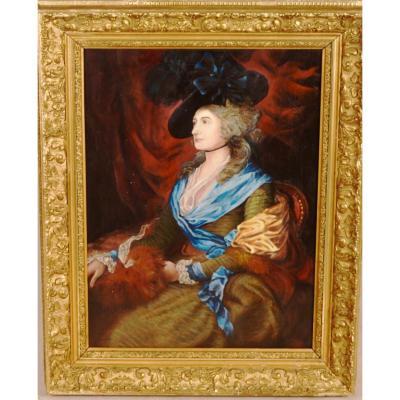 Peinture à l'Huile Portrait De l'Actrice Sarah Siddons d'Après Thomas Gainsborough