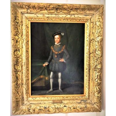 King Edward VI (1537-1553) 17thc Dutch Oil On Panel Manner Of Guillim Scrots