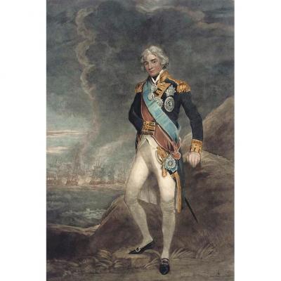 Admiral Lord Nelson Mezzotint Gravure d'Après John Hoppner 1758-1810