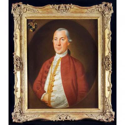 Peinture à l'Huile Du XVIIIe Siècle d'Un Gentilhomme Aristocratique