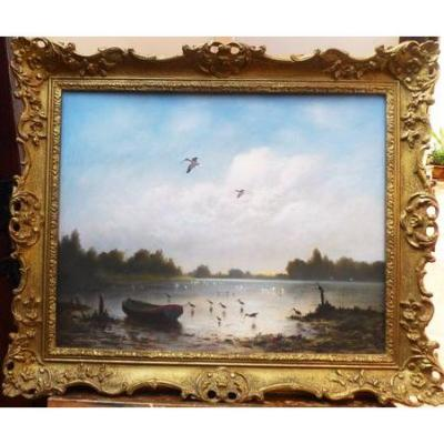 Fine Pastel Artwork Titled The Blue Lagoon Of Birds Within A Rive Landscape