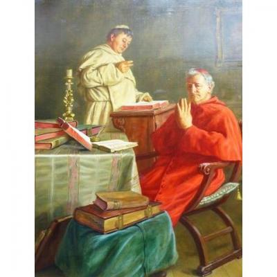 Large Oil Portrait Painting Of Vatican Cardinal Praying By Ernst Stierhof