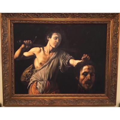 Oil Portrait Painting Of David & Goliath After Old Master Religious Artwork Oil On Canvas Gilt