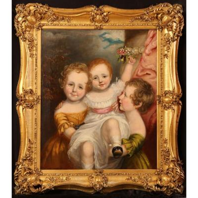 18thc Oil Portrait Studio Of Sir Thomas Lawrence 1769-1830 Of Angelic Children