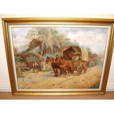 Paysage Peinture à l'Huile Des Chevaux Arrosage