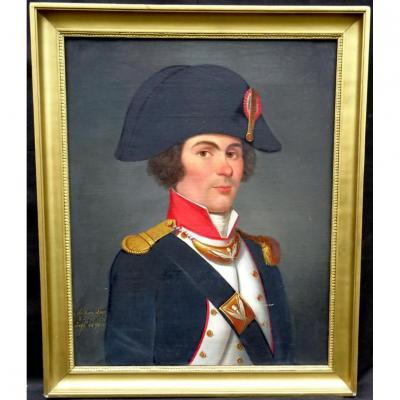 Portrait Oil Officer Of The French Revolution XVIII National Guard