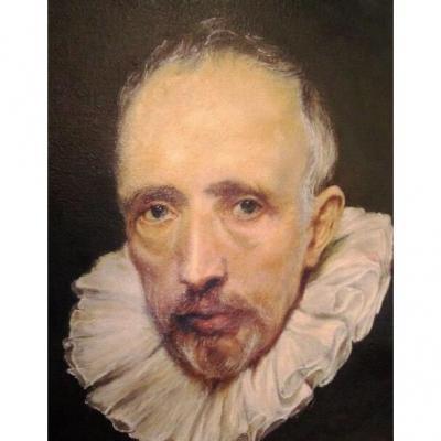 Portrait Oil From Cornelis Van Der Geest 1577-1638 (antwerp Belgium) After Van Dyck
