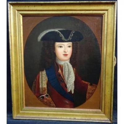 18ème Portrait à l'Huile Du Roi Louis XV En Garçon (1710-1774)