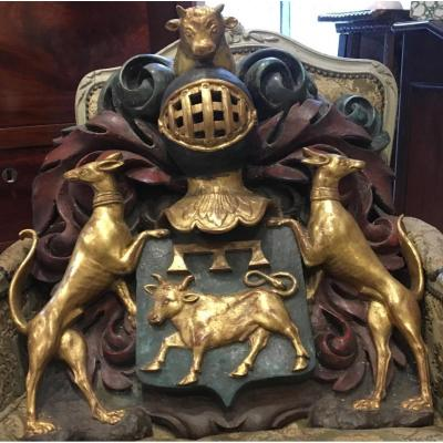 Coat Of Arms Golden Wood And Polychromy