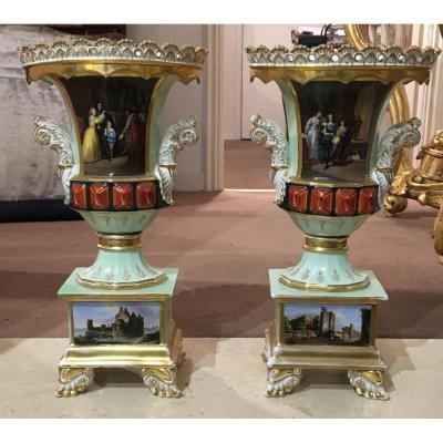 A Pair Of Old Porcelain Vases Paris