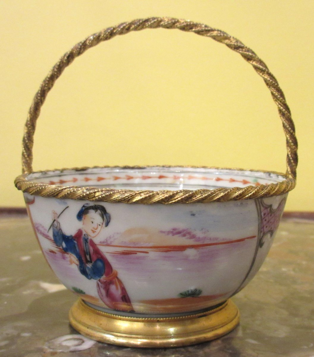 China, XIXth Century, Cup Porcelain Mounted Basket Shaped