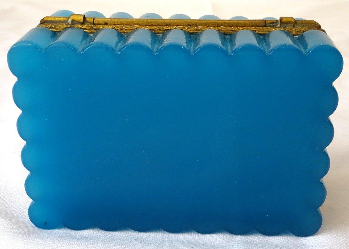 Coffret à Bijoux En Opaline Bleue d'époque XIXème Siècle-photo-3