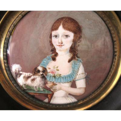 Jeune Fille Et Son Chien - Miniature Fin XVIIIème