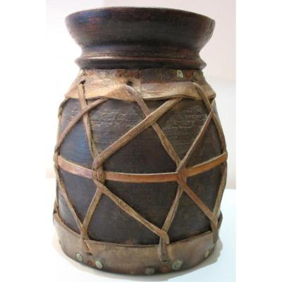 Pot Mesure en Bois Et Cuir Provenance Guinée
