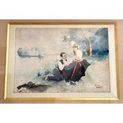 Scène Galante - Aquarelle XIXème