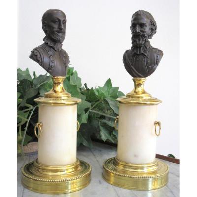 Henri IV Et Sully - Paire De Bustes en bronze et marbre