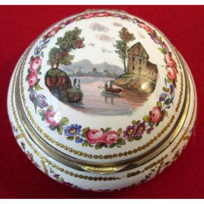 Boîte Tabatière En Cuivre émaillé XIXème