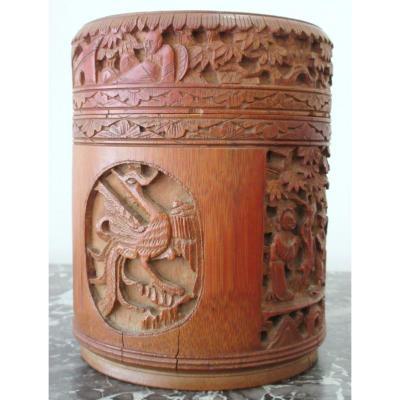 Boîte à Thé En Bambou Sculpté - Chine, Vers 1900