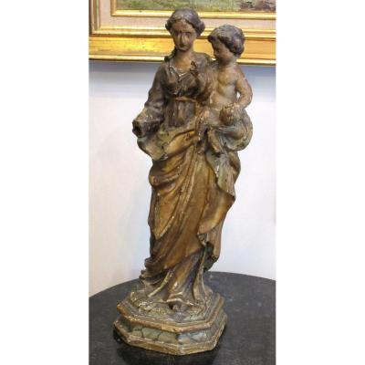 Vierge à l'Enfant En Bois Sculpté peint Fin XVIIème