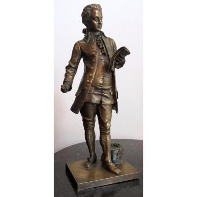 Léon Pilet (1836-1916). Bronze Representing Mozart
