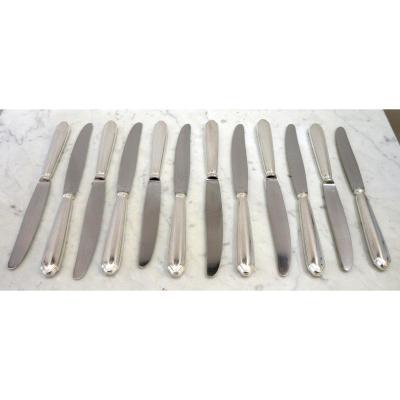 12 Couteaux De Table En Métal Argenté Ravinet d'Enfert – Modèle Contours