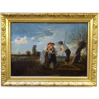 André Fonèche (1851-1942) - Le Passeur Et Les Jeunes Filles