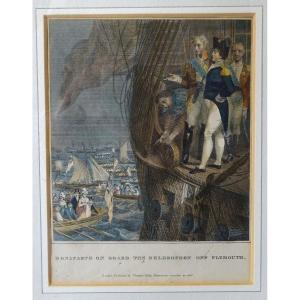 Bonaparte Aboard The Bellerophon Off Plymouth - English Engraving 1816