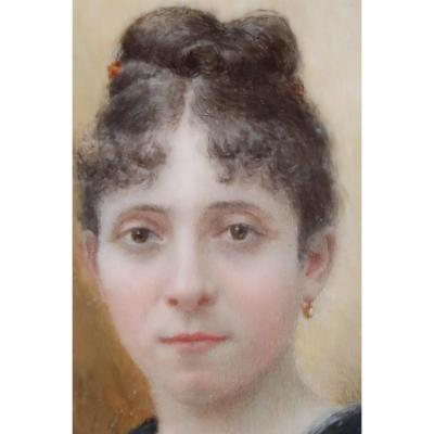 Painting, Portrait Of Woman. Arthur Dampier May, Miniature On Ivory.