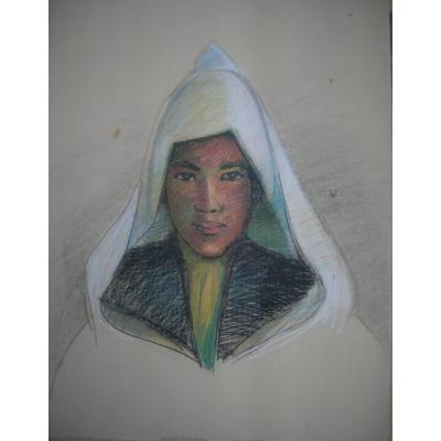 Hélène VOGT(1902-1994) - Portrait orientaliste pastel 50x48cm