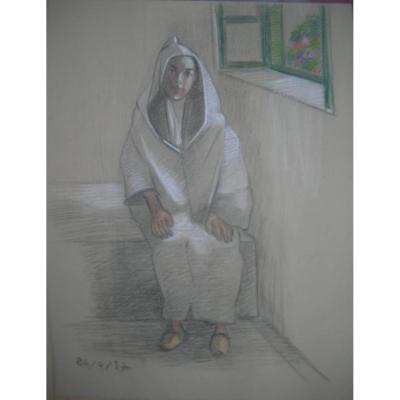 Hélène Vogt(1902-1994) - Portrait Orientaliste Pastel 60x45cm  daté 1937
