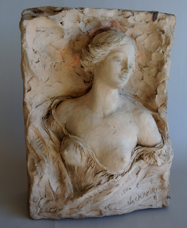 """buste Féminin"" Terre Cuite Originale De Charles Desvergnes"