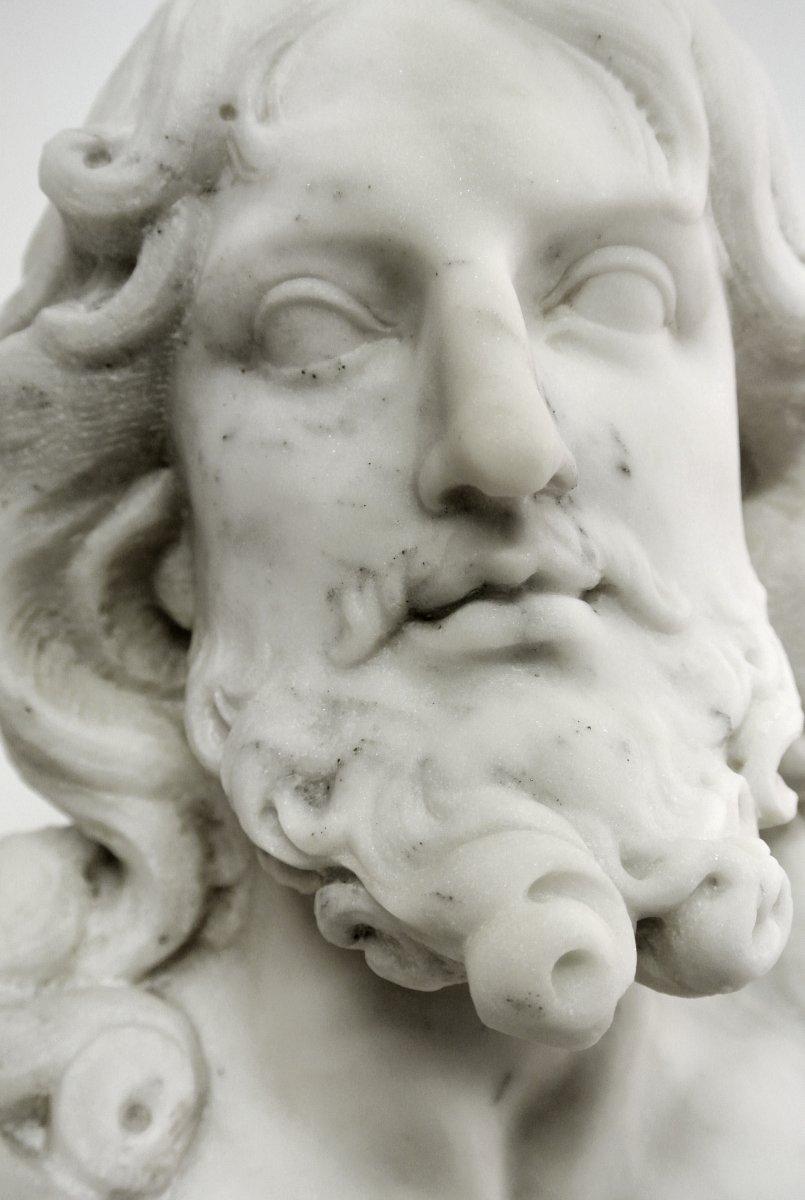 Buste du Christ, sculpture en marbre (Epoque XIXème)-photo-3