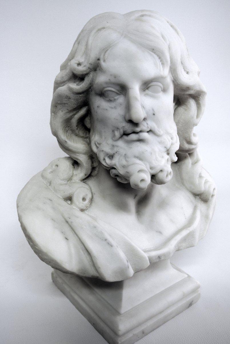 Buste du Christ, sculpture en marbre (Epoque XIXème)-photo-4