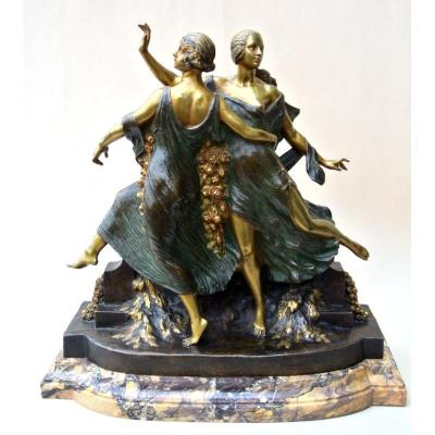 Groupe En Bronze Signé  J D Guirande  (joe Descomps)