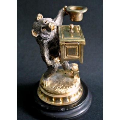 Ours savant, statuette  en bronze.