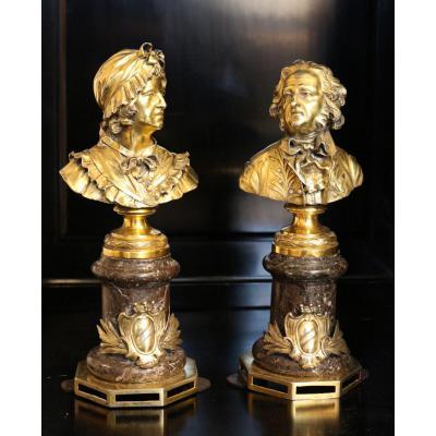 Paire de Bustes en vermeil representant un couple.