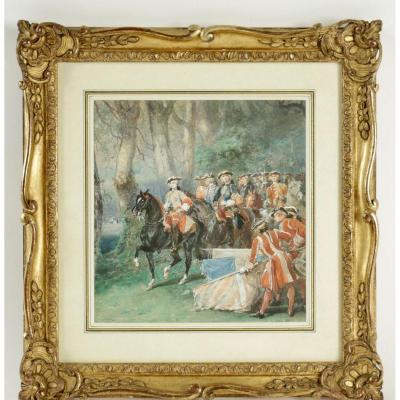Eugene-louis Lami (paris 1800-1890) - Le Salut Des Etendards