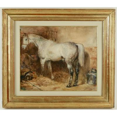 Eugène-louis Lami (1800-1890) - Horse Of The Duke Of Nemours