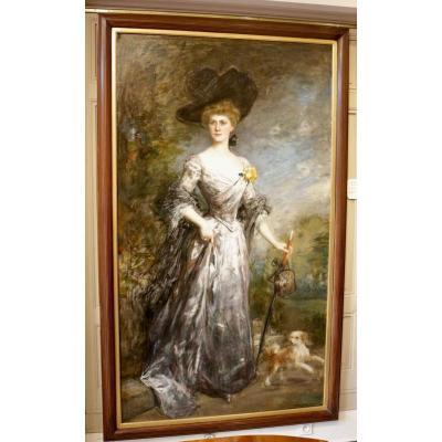 Jacques-fernand Humbert (1842-1944) - Portrait De Femme Et Son Chien
