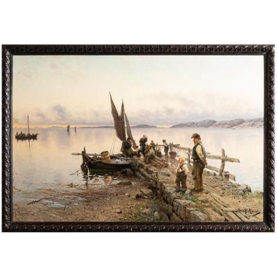 "Frithjof Smith-Hald 1846-1903  ""Retour de pêche"", 1893"